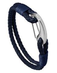 Troli Temno modra usnjena zapestnica s karabinom
