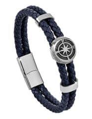 Troli Temno modra usnjena zapestnica s kompasom rose