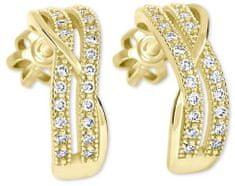 Brilio Zlaté polkruhové náušnice s kryštálmi 239 001 00978 - 2,25 g žlté zlato 585/1000