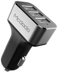 Mcdodo Nabíječka do auta s 3× USB bez kabelu, 5V/5.2A, šedá, CC-2231