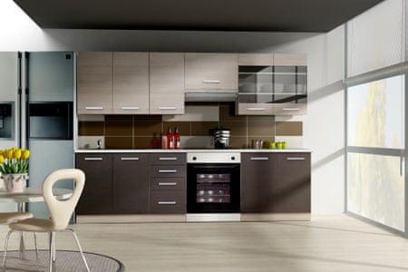 Kuchyně ASHTON, 180/240, dub Ferrara/legno tmavé