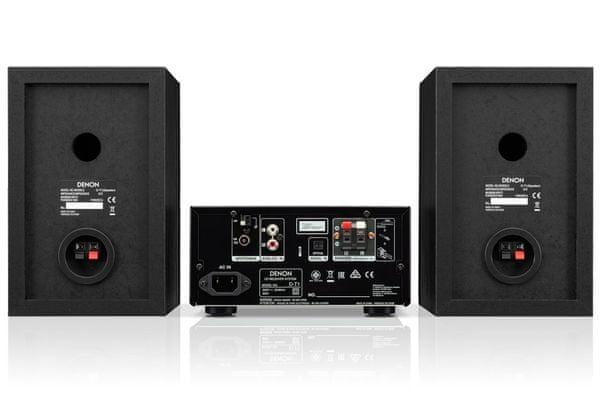 minisystém denon d-t1 optický d-t1 vstup sluchátkový výstup funkce budíku časovač vypnutí hifi zvuk k TV