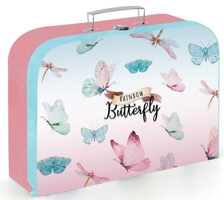 Karton P+P otroški kovček, motiv metulja, 34 cm