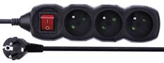 EMOS przedłużacz z przełącznikiem, 3 gniazda, 1,5 m, czarny