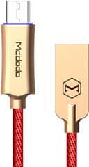 Mcdodo Knight Micro USB datový kabel s inteligentním vypnutím napájení, 1,5 m, červená, CA-2894