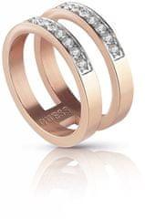 Guess Dvojno pozlačen prstan z roza pozlato s kristali UBR78008