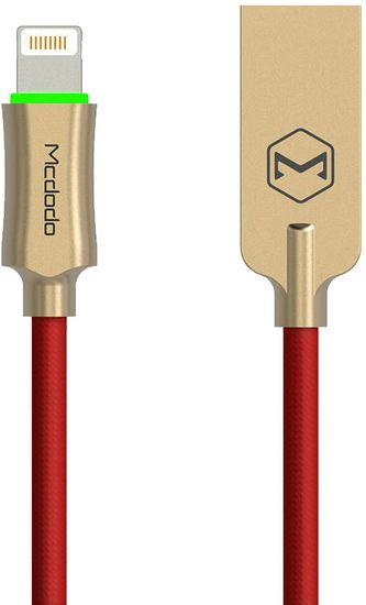 Mcdodo Knight Lightning datový kabel s inteligentním vypnutím napájení, 1,8 m, červená, CA-3907
