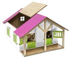 Mikro hračky Stajňa pre kone drevená 51x40,5x27,5cm ružová 1:24