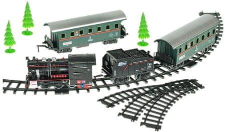 Mikro hračky Vláček s vagóny 66cm + dráha 110cm na baterie se zvukem s doplňky