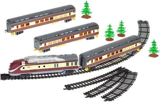 Mikro hračky Vláček s vagóny 110cm + dráha 194cm na baterie se světlem a zvukem