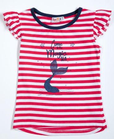 Topo dívčí tričko 92 červená/proužek