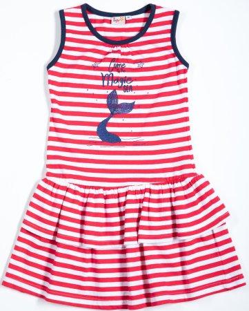 Topo dívčí šaty 92 červená/proužek