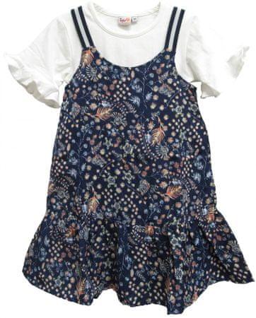 Topo dekliška obleka z majico, 104, modro bela