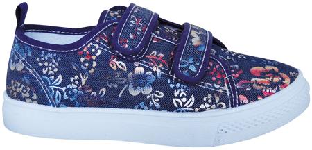Protetika dekliški čevlji z motivom cvetja, 34, temno modri