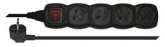 EMOS przedłużacz z przełącznikiem, 4 gniazda, 3 m, czarny