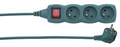 EMOS Predlžovací kábel s vypínačom, 3 zásuvky, 3 m, zelený