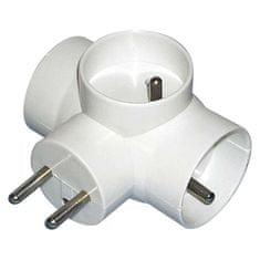 EMOS Zásuvka rozbočovacia 3 × guľatá, biela