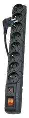 EMOS Prepäťová ochrana 8 zásuviek, 1,5 m, čierna