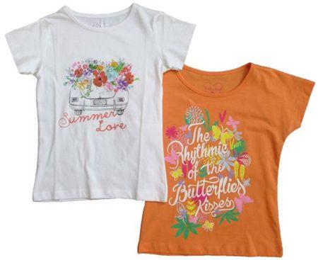 Carodel komplet dekliških majic, 2 kosa, 92, oranžen