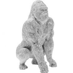 KARE Soška Gorila stojacia Strieborná 46cm