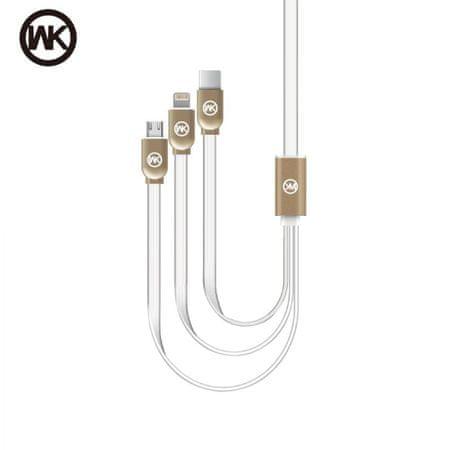 WK Design kabel 3v1, USB-C, Micro-USB