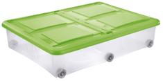 Tontarelli pudełko z pokrywą STOCKBOX 61 l, kółka transparent/zielone
