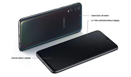 Samsung Galaxy A70, čtečka otisků prstů v displeji, 3D sklo, pohodlný do ruky