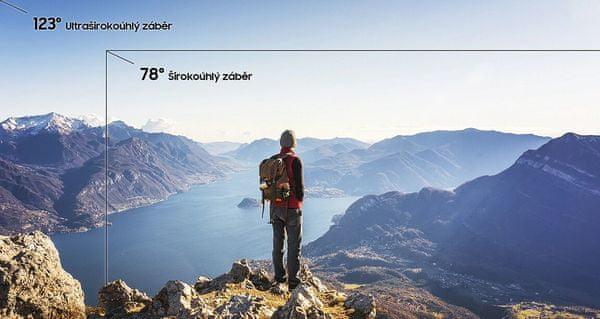 Samsung Galaxy A70, ultraširokoúhlý objektiv, 123°