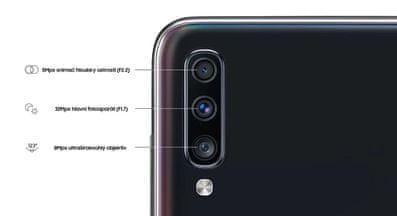Samsung Galaxy A70, trojitý fotoaparát, ultraširokoúhlý, vysoké rozlišení