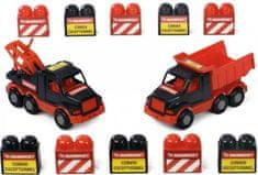 Polesie dźwig samochodowy, mini wywrotka samochodowa + klocki Mammoet Mini