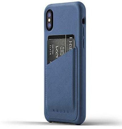 Mujjo ovitek Full Leather Wallet Case za iPhone X, MUJJO-CS-092-BL, moder
