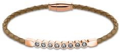 Lotus Style Hnědý kožený náramek s krystaly LS2003-2/5