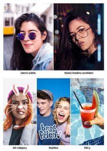 Samsung Galaxy A20e, selfie kamera, emoji, filtry, smart beauty