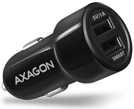 AXAGON PWC-5V3, SMART nabíječka do auta, 2× port 5 V-2,4 A + 1 A, 17 W, PWC-5V3