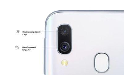 Samsung Galaxy A40, duální fotoaparát, ultraširokoúhlý objektiv