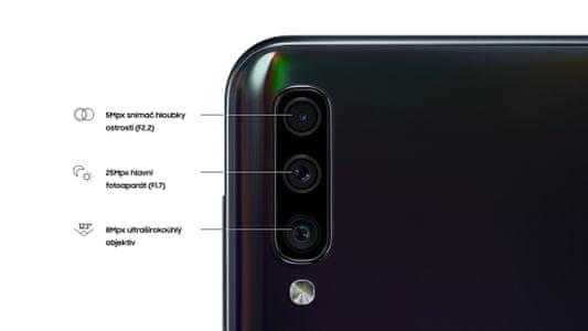 Samsung Galaxy A50, trojitý fotoaparát, ultraširokoúhlý, hloubka ostrosti, vysoké rozlišení