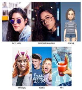Samsung Galaxy A50, 3D animované emoji, filtry, nálepky, kvalitní selfie kamera