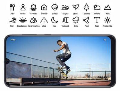 Samsung Galaxy A50, optimalizace při focení, chytrý fotoaparát, umělá inteligence, opravy chyb