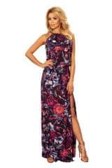 Numoco Maxi šaty se zavazováním za krkem a rozparkem se vzorem fialových květů