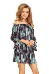 Numoco Šaty s volány na rukávech zelené peří