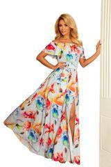 Numoco Dlouhé šaty se zajímavým výstřihem s potiskem barevných malovaných květin