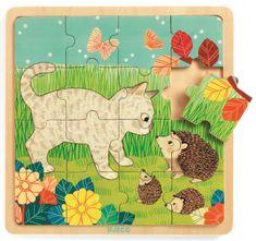 Djeco Dřevěné puzzle Na zahradě