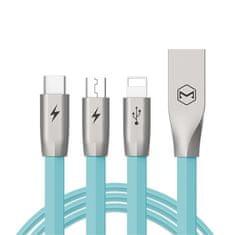 Mcdodo przewód do ładowania Zinc Alloy 3w1 Lightning, Micro USB, Type-C, 1,2m, niebieski, CA-1882