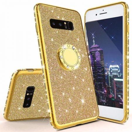 Ovitek Ring za Samsung Galaxy S10e G970, silikonski, zlat z bleščicami
