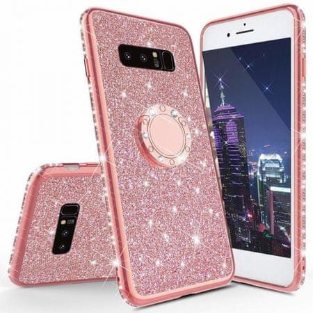 Ovitek Ring za Samsung Galaxy S10e G970, silikonski, roza z bleščicami
