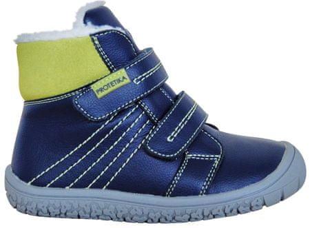Protetika chlapčenské zimné barefoot topánky Artik 27 modré/zelené