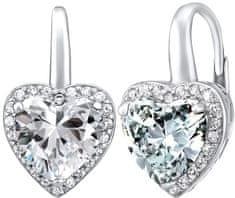 97f49fc36 Silvego Stříbrné náušnice srdce se zirkony LPS0629EW stříbro 925/1000