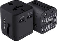 Mcdodo adapter podróżny, 2x USB EU/UK/US, 5V/2.4A, czarny, CP-4380