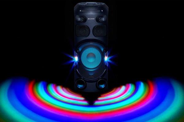 párty reproduktor sony mhc-v42d karaoke fiestable ovládání hlasem kytarový jack upevnění v repro stojanu světelné efekty