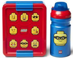 LEGO Iconic Classic tízórai szett üveg és tároló - piros/kék